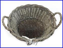 Shabby Chic Grey Wicker Log Big Deep Oval Rectangl Lidded Hamper Storage Basket