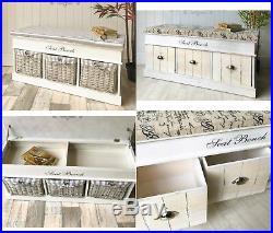 Shabby Chic Storage Bench White Hallway Furniture Shoe Draw Cabinet Cushion Unit