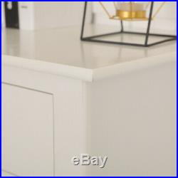 Shabby Chic White Bedside Cabinet Table Nightstand 2 Drawer Storage Large Size