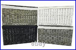 Shabby Chic White Grey Black Strong Wicker Storage Chest Trunk Toy Blanket Box