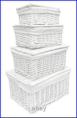 Shabby Chic White Wicker Baby Nursery Storage Basket Chest Trunk Toy Blanket Box