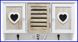 Shabby Chic Wooden Heart Wall Unit Storage Organiser Display Shelf With 3 Hooks