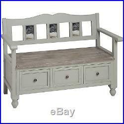 Shabby chic bench 3 seat with storage drawers grey wash finish storage