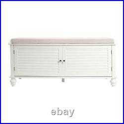 Shoe Bench Storage Cabinet Cushion Seat Ottoman Bedroom Hallway Entryway White