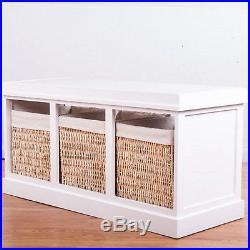 Shoe Storage Bench 3 Wicker Baskets Drawer Cushion Seat Hallway Porch Wood White