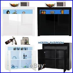 Sideboard 2 High Gloss Door Storage Cabinet Cupboard Display + Blue LED Lighting