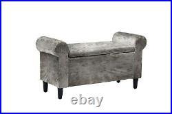 Silver Grey Crushed Velvet Storage Ottoman Blanket Box Bench Window Seat