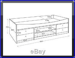 Single Cabin Bed Frame White Drawers Shelves Children Bedroom Storage Unit NEW