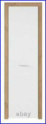 Single Slim 1 Door Wardrobe White Gloss Oak Effect Storage Cabinet Unit Balder
