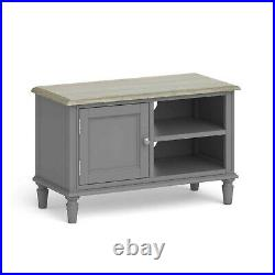 Small Grey TV Stand Painted Television Oak Unit with Storage Cabinet Mulsanne