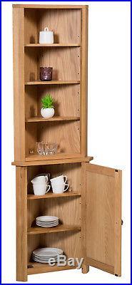 Small Oak Corner Display Cabinet Storage Cupboard with Shelf Solid Wood Unit