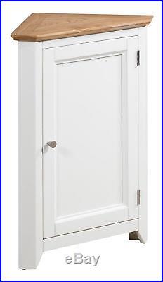 Exceptionnel Small Oak White Painted Corner Storage Cupboard Cream Wooden Hallway Cabinet