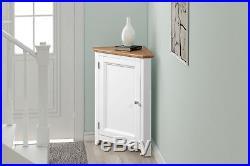 Small Oak White Painted Corner Storage Cupboard Cream Wooden Hallway Cabinet