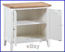 Small Oak White Painted Storage Cupboard Cream Wood Shoe Cabinet Bathroom Unit