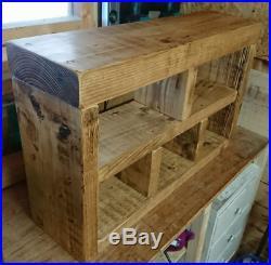 Small Shoe Rack Hall Bench, Storage Seat, Handmade Solid Chunky Rustic Pine Wood