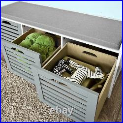 SoBuy Padded Hallway Shoe Storage Seat Bench with 3 Drawers Grey, FSR23-HG, UK