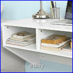 SoBuy Wall Computer Desk, Dressing Table With Storage Cubes, FWT14-W, White, UK
