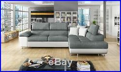 Sofa Anton Corner Sofabed Fabric/Leather + Bed & Storage Black/White/Grey