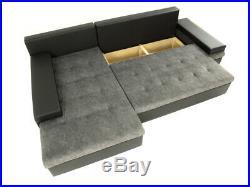 Sofa Bangkok Sofa bed Storage Fabric/leather Black/Grey White/grey