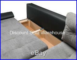 Sofa Calasetta Corner Sofabed + Fabric/Leather+Bed & Storage- Black/White&Grey