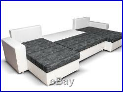 Sofa Rumba U Corner Sofabed Fabric/Leather + Bed & Storage -Black/White&Grey