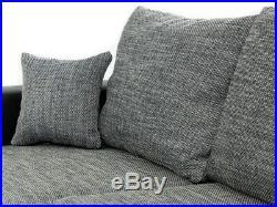 Sofa, Rumba fabric & leather u-shaped corner sofa bed storage, black grey white