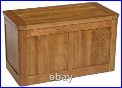 Solid Oak Large Blanket Box Toy Storage Trunk/Chest Wooden Ottoman