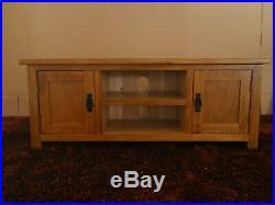 Solid Oak TV Stand Rustic Wooden Cabinet Wood Storage Plasma Cabinet Unit