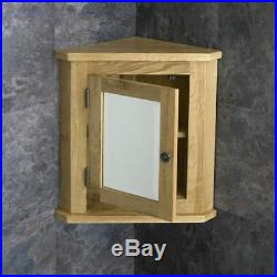 Solid Oak Wall Mounted Corner and Square Bathroom Storage Mirror Glass Cabinet
