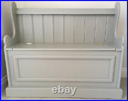 Solid Pine Monks Bench Settle Storage Hallway Seat Farrow & Ball Lamp Room Gray
