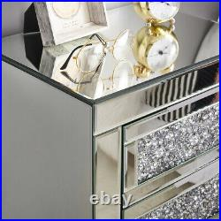Sparkly Mirrored Crystal Glass Bedside Table Chest of 3 Drawers Storage Cabinet