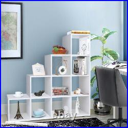 Step Style Storage Cube 10 Shelf Bookcase Wooden Display Staircase Unit White