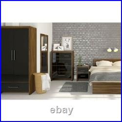Storage Bed Frame Walnut Bedroom Furniture 2 Drawer King Mattress Optional
