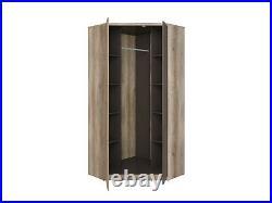 Storage Corner Wardrobe 2 Doors Hanging Rail Shelves Oak Effect and Grey Malcolm