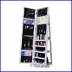Storage Full-Body Dressing Mirror Cabinet With Jewelry 360º Rotation White UK