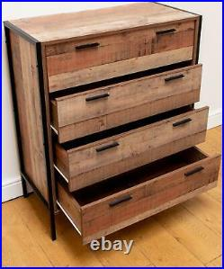 Stretton Rustic Chest 4 Drawers Bedroom Living Room Storage Industrial Oak