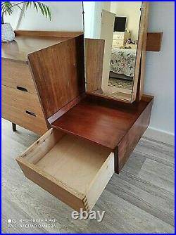 Stylish Danish Inspired Vintage 1950's Solid Teak Dressing Table & Mirror