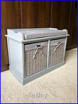 Stylish Grey Window Seat Storage Bench Ottoman Bedroom Furniture Wicker Baskets