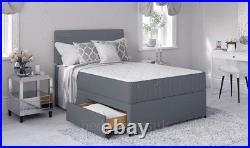 Super Grey Divan Bed with Memory Foam Mattress & Headboard 3FT 4FT6 Double 5FT