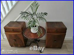 Superb Art Deco Inspired Pair Of Bow Fronted Walnut Bedside Cabinets MID 20th C