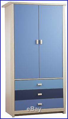Sydney Boys Bedroom Storage Wardrobe With Drawers Blue Children 3 Drawer 2 Door