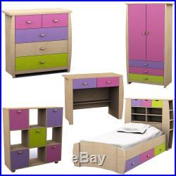 Sydney Range 3ft Storage Bed Wardrobe Drawer Table Chest Desk Pink Bedroom Set