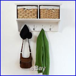 TETBURY White Storage Bench with cushion, Hallway hanging shelf, FULLY ASSEMBLED