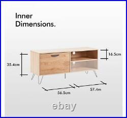 TV Unit Stand Cabinet Storage Table Furniture Wooden Oak Cupboard Shelf Media