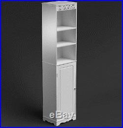 Tall Bathroom Cabinet White Storage Unit Tallboy Cupboard Vanity Furniture Shelf