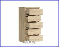 Tall Boy Chest 5 Drawer Bedroom Sonoma Oak Finish Storage Tallboy Unit Kaspian