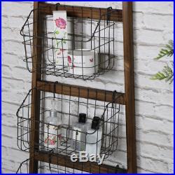 Tall rustic ladder basket shelving unit storage bedroom bathroom kitchen shelves