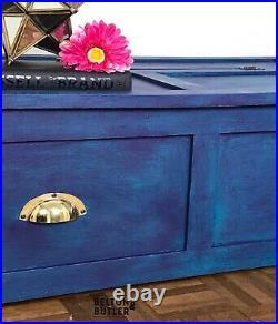 Teal & Purple Lift Lid Blanket / Under Bed / Shoe Storage Solid Wood Storage Box