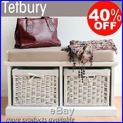 Tetbury Hallway Bench with storage baskets, Storage Bench with wicker baskets