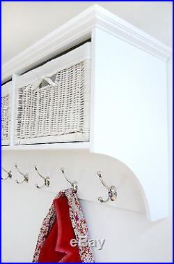 Tetbury Large Coat Rack with white storage baskets, Hallway hanging shelf & hooks